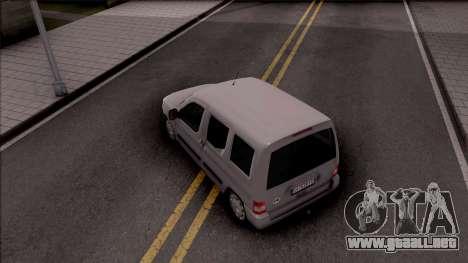 Citroen Berlingo Mk2 para GTA San Andreas vista hacia atrás