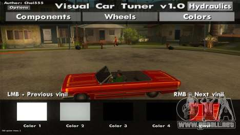 Visual Car Tuner v1.0 para GTA San Andreas segunda pantalla