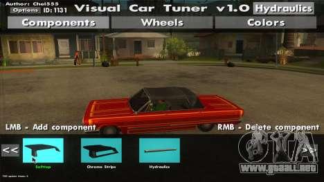 Visual Car Tuner v1.0 para GTA San Andreas tercera pantalla