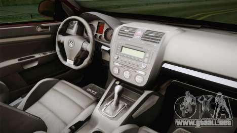 Volkswagen Golf Mk5 para vista lateral GTA San Andreas