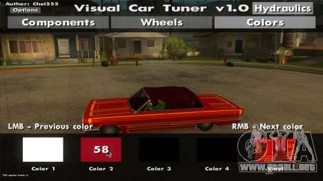 Visual Car Tuner v1.0 para GTA San Andreas sucesivamente de pantalla