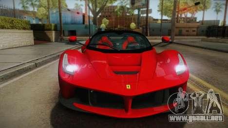 Ferrari LaFerrari para GTA San Andreas vista posterior izquierda