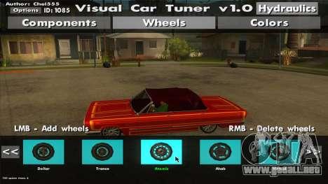 Visual Car Tuner v1.0 para GTA San Andreas quinta pantalla