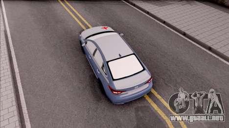 Hyundai Sonata 2016 para GTA San Andreas vista hacia atrás