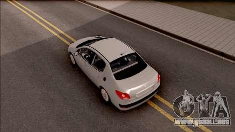 Peugeot 207 Passion para GTA San Andreas vista hacia atrás