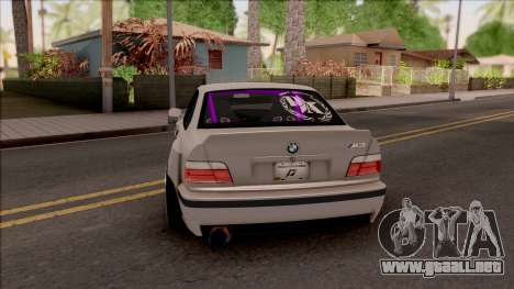 BMW M3 E36 Drift Rocket Bunny v4 para GTA San Andreas vista posterior izquierda
