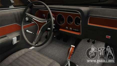 Plymouth GTX Police LVPD 1972 para visión interna GTA San Andreas