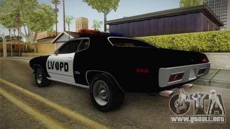 Plymouth GTX Police LVPD 1972 para GTA San Andreas left
