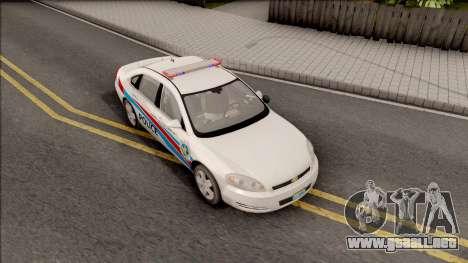 Chevrolet Impala Las Venturas Police Department para la visión correcta GTA San Andreas