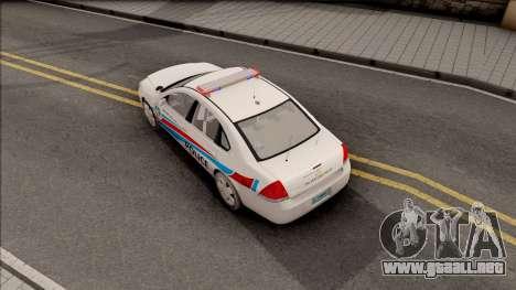 Chevrolet Impala Las Venturas Police Department para GTA San Andreas vista hacia atrás