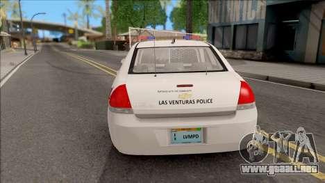 Chevrolet Impala Las Venturas Police Department para GTA San Andreas vista posterior izquierda