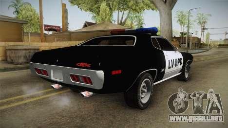 Plymouth GTX Police LVPD 1972 para la visión correcta GTA San Andreas