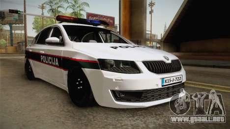 Skoda Octavia Police para GTA San Andreas vista posterior izquierda