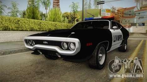 Plymouth GTX Police LVPD 1972 para GTA San Andreas vista posterior izquierda