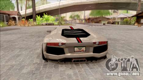 Lamborghini Aventador Shark New Edition White para GTA San Andreas vista posterior izquierda