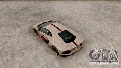 Lamborghini Aventador Shark New Edition White para GTA San Andreas vista hacia atrás