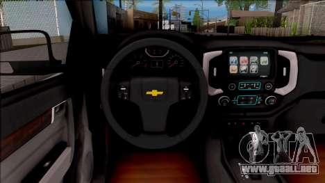 Chevrolet S-10 High Country 2017 para visión interna GTA San Andreas
