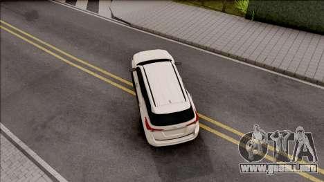 Toyota Forturner 2017 para GTA San Andreas vista hacia atrás