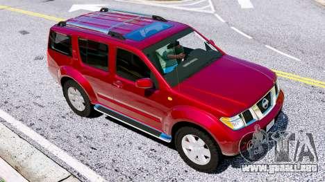 GTA 5 Nissan Pathfinder 2007 vista lateral izquierda trasera