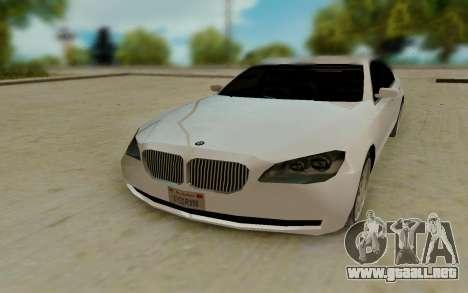 BMW 7 Series 750Li xDrive para GTA San Andreas vista hacia atrás