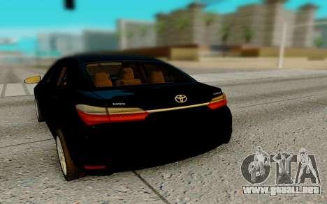 Toyota Corolla 2017 para GTA San Andreas vista posterior izquierda