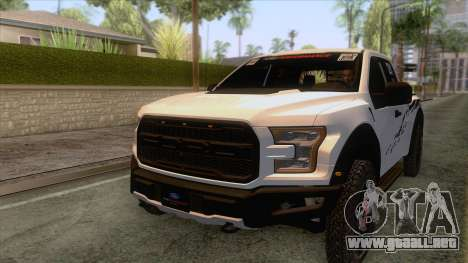 Ford Raptor 2017 Race Truck para GTA San Andreas interior