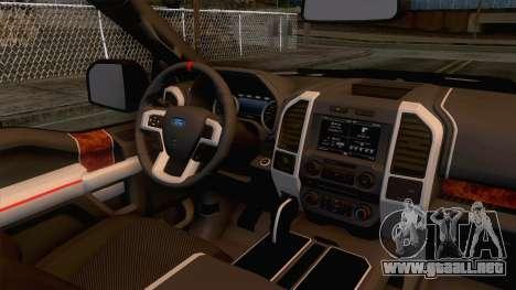 Ford Raptor 2017 Race Truck para visión interna GTA San Andreas