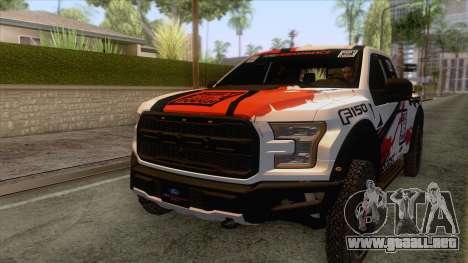 Ford Raptor 2017 Race Truck para vista lateral GTA San Andreas