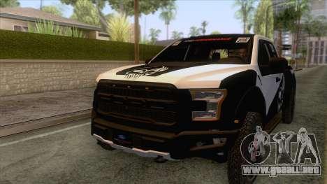 Ford Raptor 2017 Race Truck para vista inferior GTA San Andreas