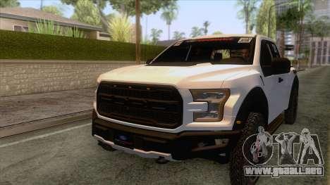Ford Raptor 2017 Race Truck para la vista superior GTA San Andreas