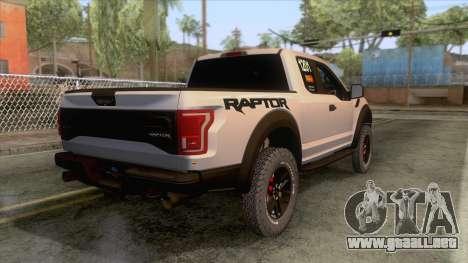 Ford Raptor 2017 Race Truck para GTA San Andreas left