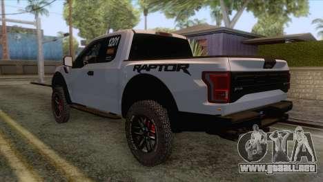 Ford Raptor 2017 Race Truck para la visión correcta GTA San Andreas