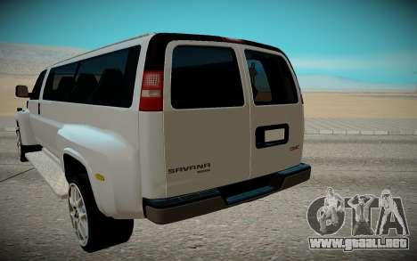 GMC Savana C5500 para GTA San Andreas vista hacia atrás