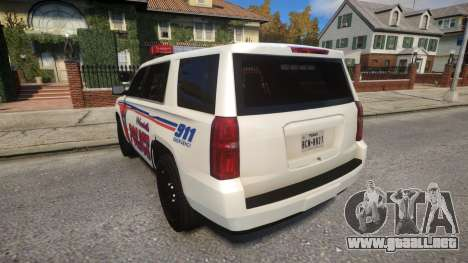 Chevy Tahoe police para GTA 4 Vista posterior izquierda