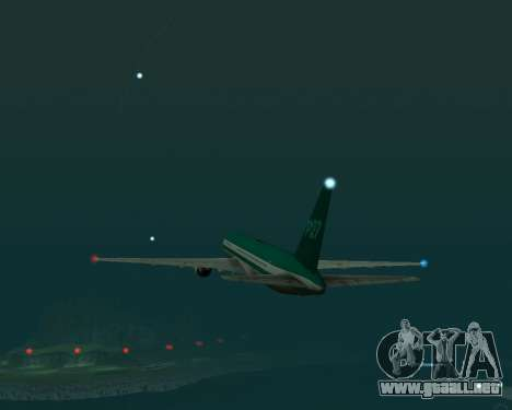 Boeing 767 P27 Teal Colores para GTA San Andreas