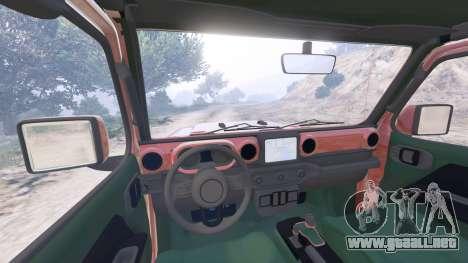 GTA 5 Jeep Wrangler Unlimited Rubicon (JL) 2018 vista lateral trasera derecha