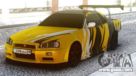 Nissan Skyline R34 GT-R Yellow & Black para GTA San Andreas