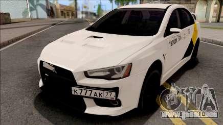 Mitsubishi Lancer Evolution 10 Yandex Taxi v2 para GTA San Andreas