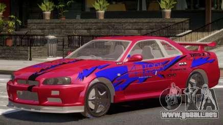 Skyline GT-R34 V1.0 PJ1 para GTA 4