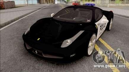 Ferrari 458 Italia 2015 Police Car para GTA San Andreas