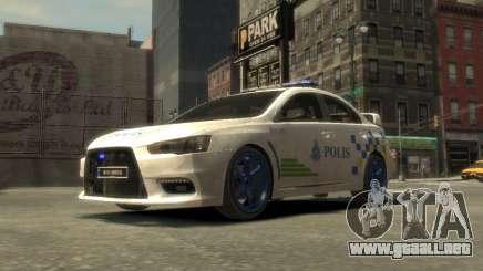 Mitsubishi Evo X De Malasia Coche De Policía para GTA 4