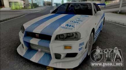 Nissan Skyline GT-R R34 C-West para GTA San Andreas