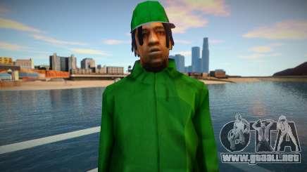 Fam2 RockStar Green para GTA San Andreas