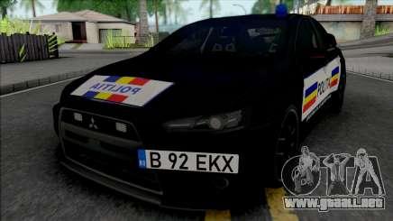 Mitsubishi Lancer Evolution X Politia Romana para GTA San Andreas